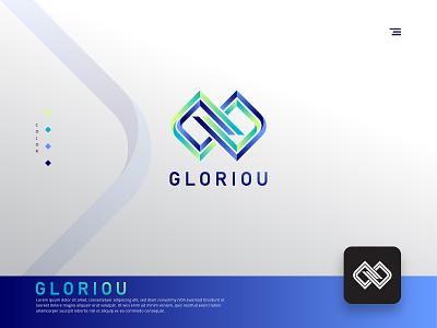 Gloriou / G letter logo concept ux ui geometric technology tech grid modern infinity icon logotype glorious gradient g letter logo