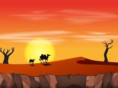 Landscape Illustration with camel at sunset