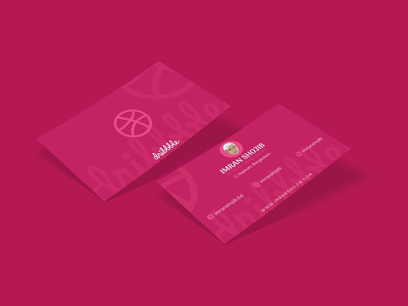 Dribbble  Business card pink dribble card id card creative free minimal cool concept design graphic namecard brand identity busines card
