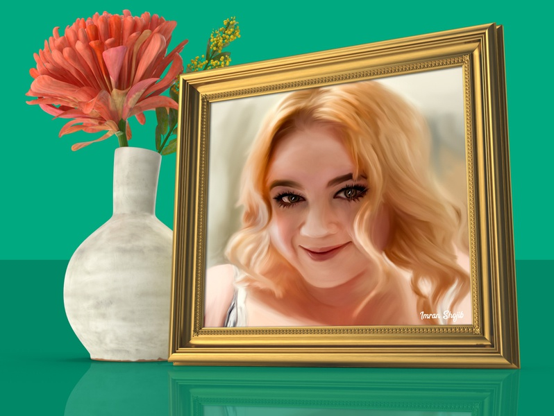 Image Painting and Photo Mockup gold frame flower brush effect painting paint modern art photoshop psd mockup mockup image frame digital painting brush painting