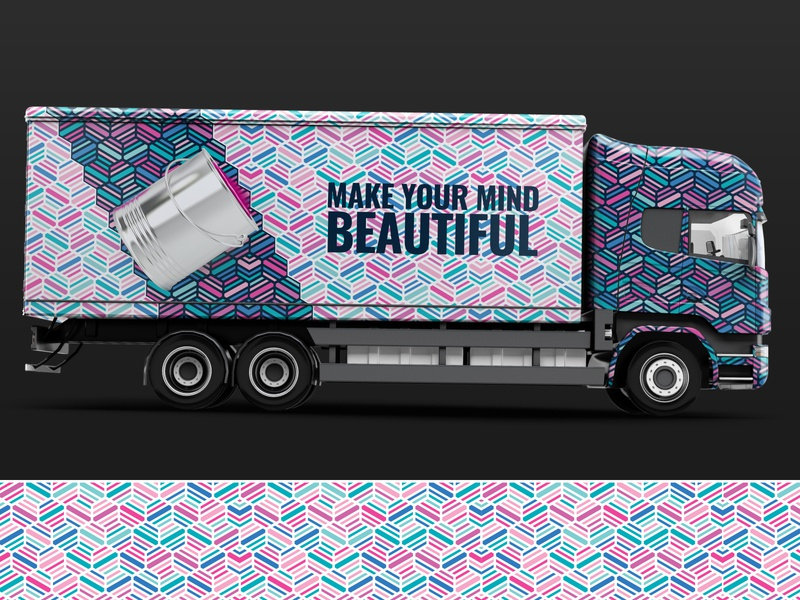 Pattern Design with Truck Van Mockup cool branding painting colorful concept design graphic vector illustration pattern art free mockup pattern