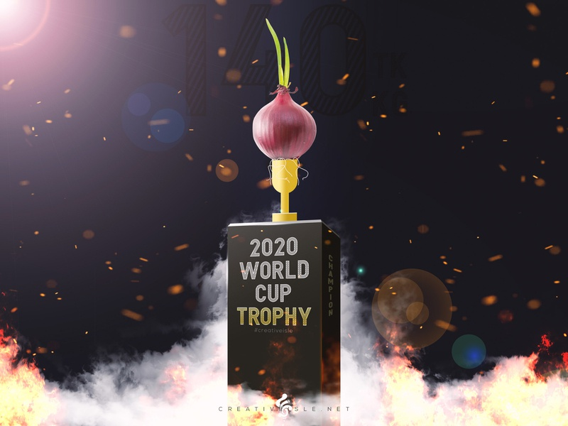 Trophy Design and Presentation with Onion clean modern fantasy free concept design wallpaper smoke fire effect composition flyer poster design funny world cup trophy onion