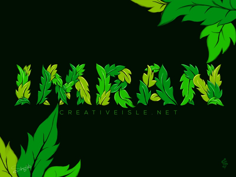 Digital Painting Leaf 2020 trend colorful modern concept design illustration typeface art typogaphy drawing brush adobe photoshop digital painting
