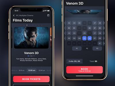 Сinema tickets booking app concept film red dark booking cinema ios app ux ui design