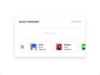 Passenger Selection Interaction illustration selection passenger card 3d design motion web ui ux