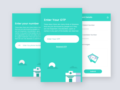 OTP & Mobile Number Expolration grappus illustrations green phone number otp android ios mobile ux ui