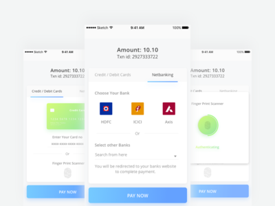 Payment Screens fingerprint nfc netbanking payement android ios ux ui