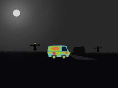 The Mystery Machine ui ux web illustrations clips images vector scarecrow van scary mystery machine illustration