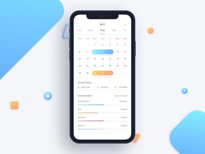 Leave Tracker - My Calendar status leave calendar gradients 10 x iphone ios ux ui
