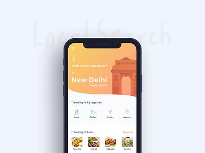 Local Search App illustartion icons food 10 x iphone gate india new delhi dashboard ux ui