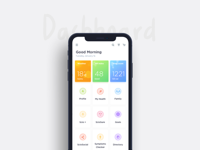Dashboard- iPhone X gradients mobile scio steps weather ios ux ui iphone x dashboard