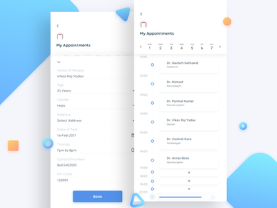 Book Appointments Flow blood tests calendar timeline appointment book iphone x ios ux ui