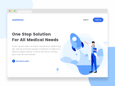 Healthtastic - Healthcare Landing Page illustrations rocket doctor concept healthcare website landing web ux ui