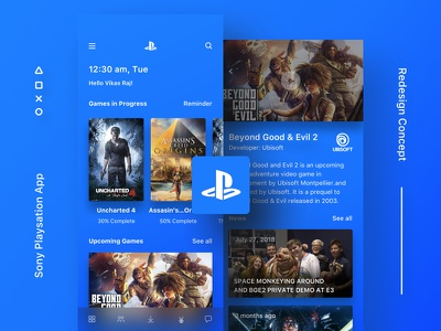 IWSJLT #1 - Sony Playstation Mobile App- Redesign iphone x minimal blue concept redesign app mobile playstation sony ux ui