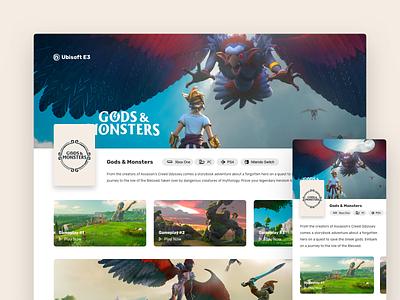Ubisoft E3 : Gods and Monstors monsters gods ubisoft game concept landing page dashboard web ux ui