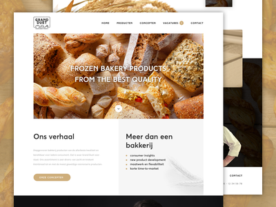 Grand Duet - frozen bakery products corporate website ux webdesign experience testimonials slider homepage ui bread bakery