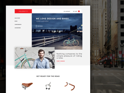 Veloretti - redesign idea menu experience redesign concept veloretti bikes website bike