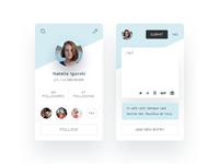 Profile Card & Writing Screen