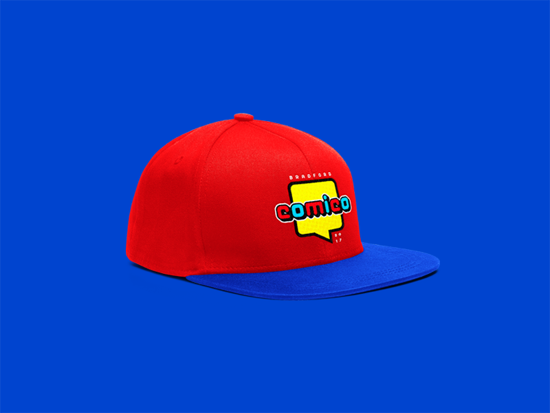 Bradford COMICO comic con geek nerd colour graphic design hat comic blue fun creative red yellow