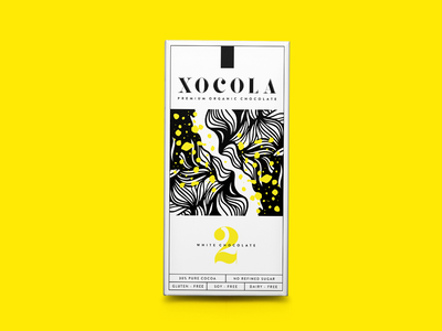 XOCOLA Organic Chocolate design yellow chocolate bar candy cocoa desert sweets chocolate packaging design packaging logotype creative logo design typography branding logo fun vector illustration graphic design