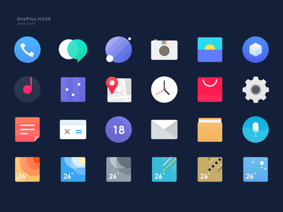 OnePlus H2OS Icons phone theme music map camera calendar browser android system h2os oneplus icon