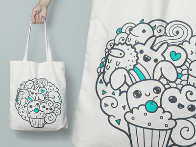 Tote bag doodle girly vector drawing draw monsters happy line cute monster doodle bag tote