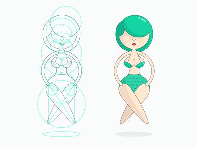My Girl circle sexy cute bikini boobs illustration line sketching draw vector hipster girl
