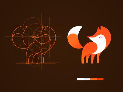 Geometric Fox line sketch illustration identity vector flat geometry fox drawing design animal