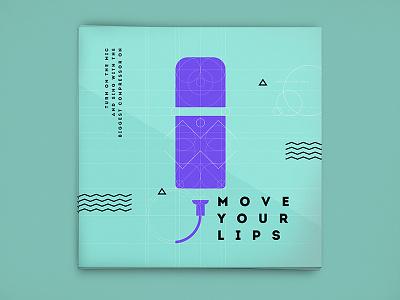 Home Studio Canvas #3 geometric sketch line canvas microphone voice sing mic vector design flat music
