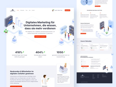 PushPartner Relaunch clean white ux agency website isometric landingpage webdesign marketing agency homepage uiux ui