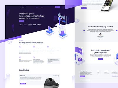 🏠 Firesqueak Landing Page isometric illustration ecommerce webdesign landingpage interface website ux ui