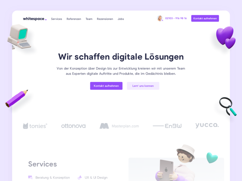 whitespace is born 🔥 dusseldorf digital agency webdesign landingpage website ux ui