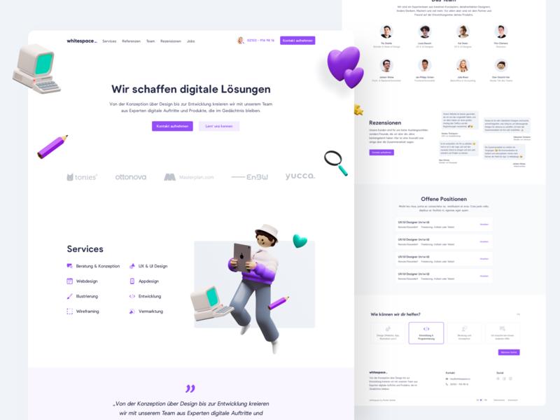 💜 whitespace Landingpage violet purple 3d illustration landingpage webdesign website ux ui