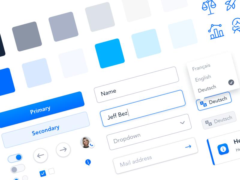 🔮 UI Elements colors palette language switch button input icons blue and white clean blue ui elements components design system webdesign interface website ux ui
