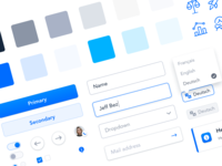 🔮 UI Elements colors palette language switch button input icons blue and white clean blue ui elements components design system webdesign interface website ux ui