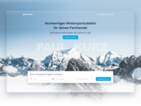 Landingpage for winter sport accessories / Wintersportartikel design landingpage ux ui