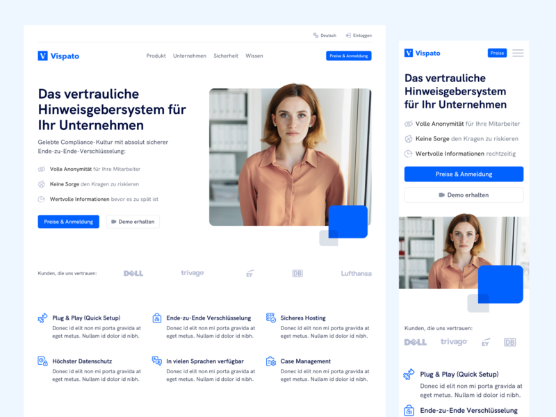 💎 Homepage for SaaS Company compliance data privacy mobile web design mobile clean whitespace saas landing page saas website saas ux ui landingpage webdesign website