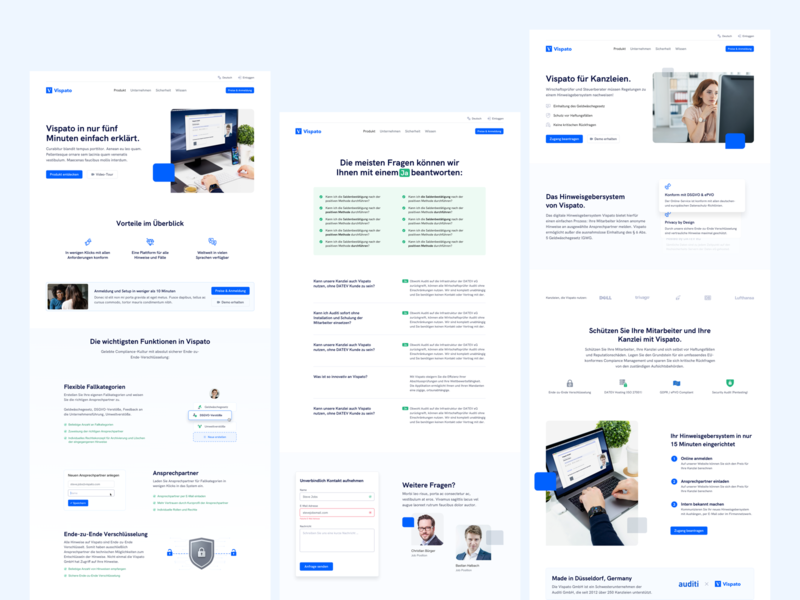 🖥 Product Pages for SaaS Company saas website saas duesseldorf whitespace compliance data privacy feature page faq product page landingpage webdesign website ux ui