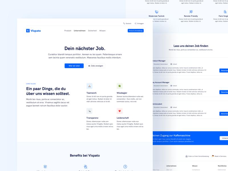 💼 Career Page for SaaS Company clean blue emojis ux ui saas website website landingpage desktop design career software as a service saas düsseldorf whitespace careers page job page job webdesign
