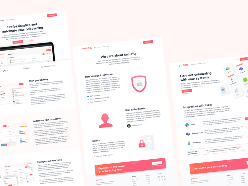 ⭐️ Pages Overview for yuccaHR clean illustration webdesign website ux ui