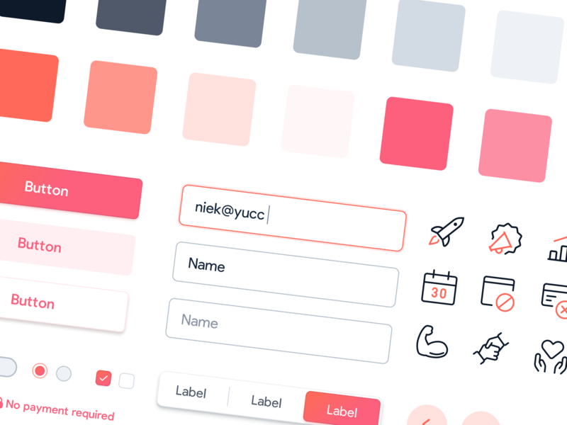 🖌 Styleguide for yuccaHR form input field colors color palette styleguide ui elements design system ui kit landingpage webdesign website ux ui