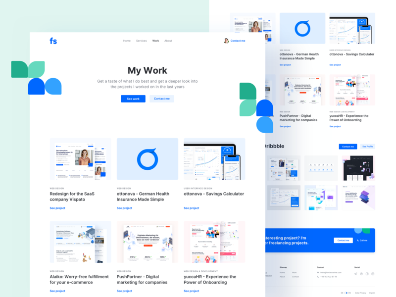 💚 Portfolio Redesign - Work Page portfolio design illustration interface landingpage webdesign website ux ui