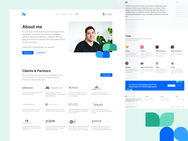 🍃 Portfolio Redesign - About Page branding illustration interface design landingpage portfolio portfolio site about ux ui