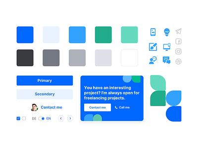 💎Simple Styleguide for Portfolio ui elements branding website webdesigns shapes blue colors landingpage portfolio ui design system styleguide
