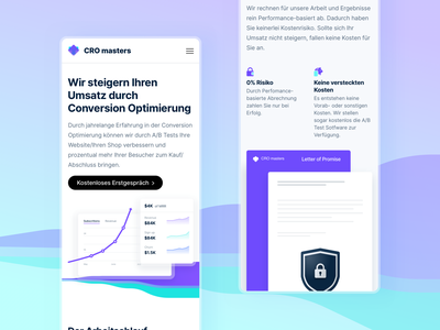 Mobile Landingpage for CRO masters colorful conversion conversion rate branding interface landingpage webdesign ux website