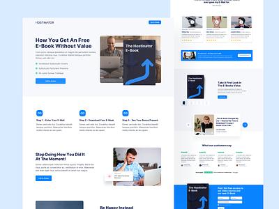 📖 Landingpage for Ebook lead generation lead e-book ebook hostinator ui ux design illustration interface webdesign website