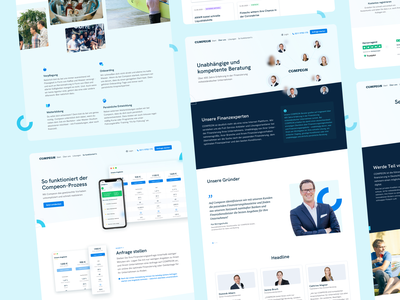 💙 COMPEON Redesign Overview sub pages website webdesign branding compeon landingpage ui ux fintech
