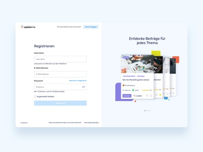 🔐 Registration for Xplainme web app interface learning social network xplainme login registration ui ux
