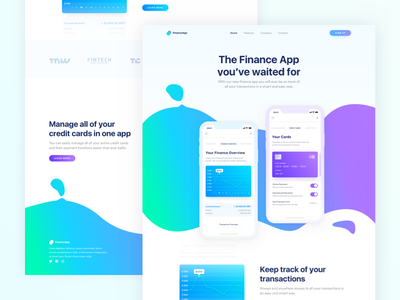 Mobile Finance App Landingpage Alternative finance banking interface landingpage payment ui user ux website mobile app shapes