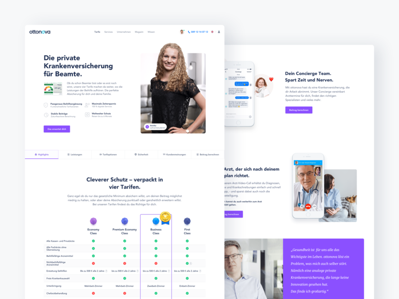 ottonova Redesign Tariff page webdesign landingpage insurance website health ui